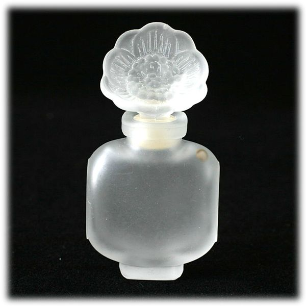 French Perfume Bottle Vintage Frosted Crystal Flower