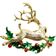 Gerry's Vintage Reindeer Pin with Holly and Berries