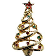 Christmas Tree Pin Spiral Goldtone  with Red and Green Enamel Ornaments Vintage