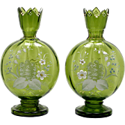 Harrach Bohemian Art Glass Vase Pair Lily of the Valley Antique Enameled Green