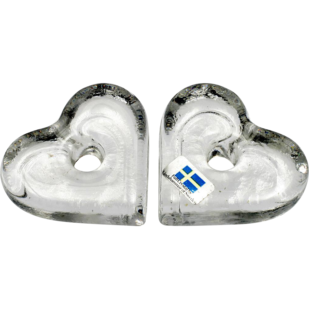 Lindshammar Glass Heart Candle Holders Pair Vintage Art Glass Crystal Swedish