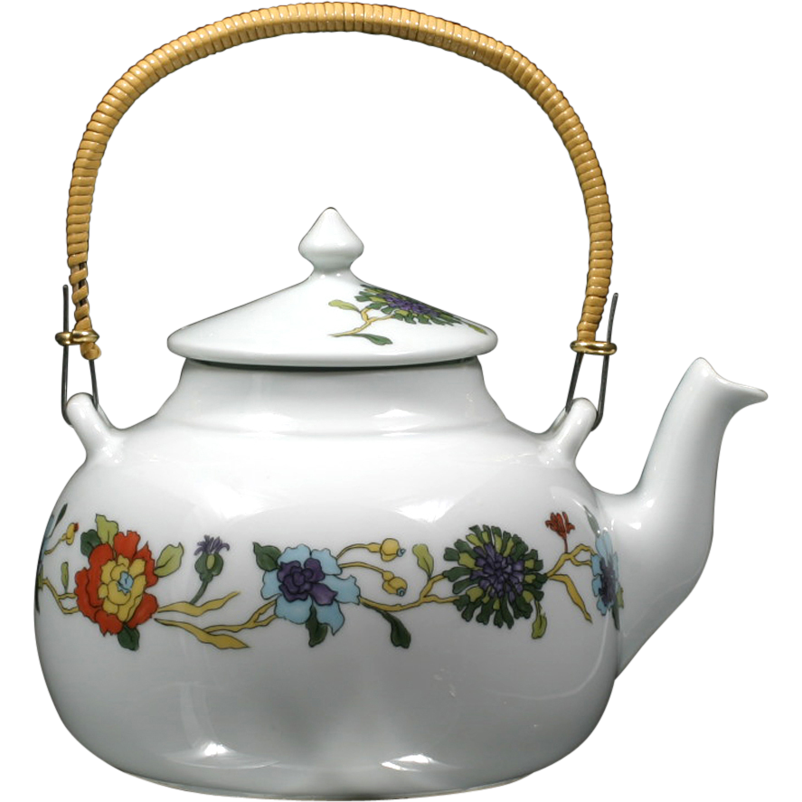 Limoges porcelain teapot fleurs persanes porcelaine de paris french from cati - Estampille porcelaine limoges ...