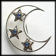 Blue Rhinestone Moon and Star Silver Tone Brooch