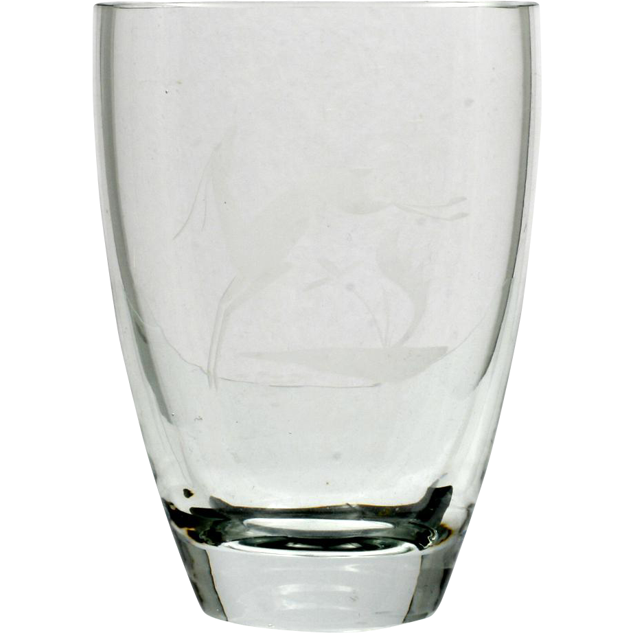 Maleras Swedish Art Glass Vase Engraved Antelope Vintage Crystal