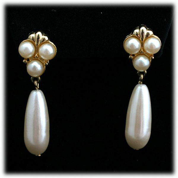 Marvella Faux Pearl Dangle Drop Earrings In Gold Tone Catisfaction S Gl Gallery Ruby Lane
