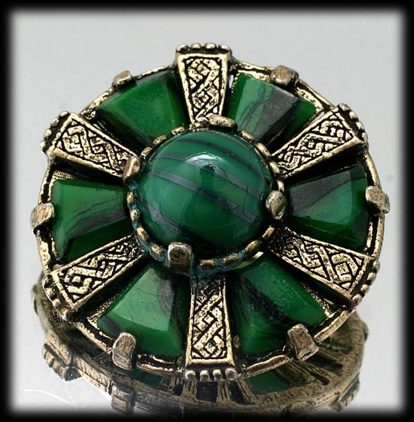 Celtic Miracle Brooch Green and Gold tone