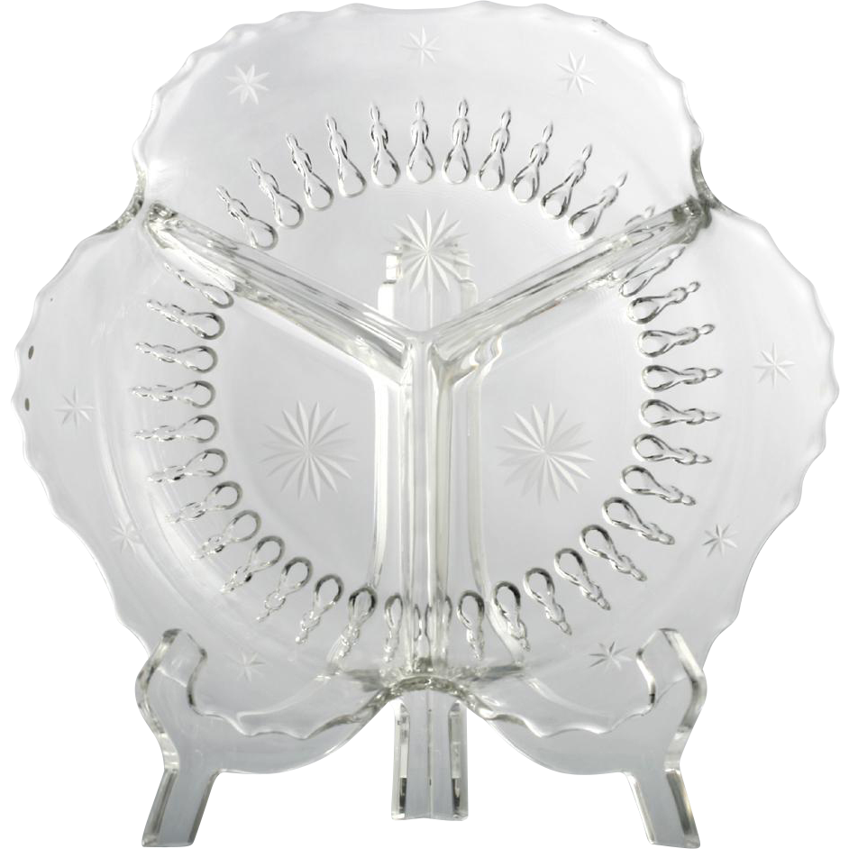 New Martinsville Elegant Glass Radiance Candy Dish with Star Cutting Vintage Crystal
