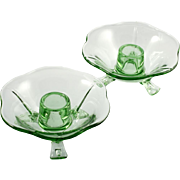 Fostoria Elegant Glass Green Candleholders Depression Era Vintage for Taper Candles