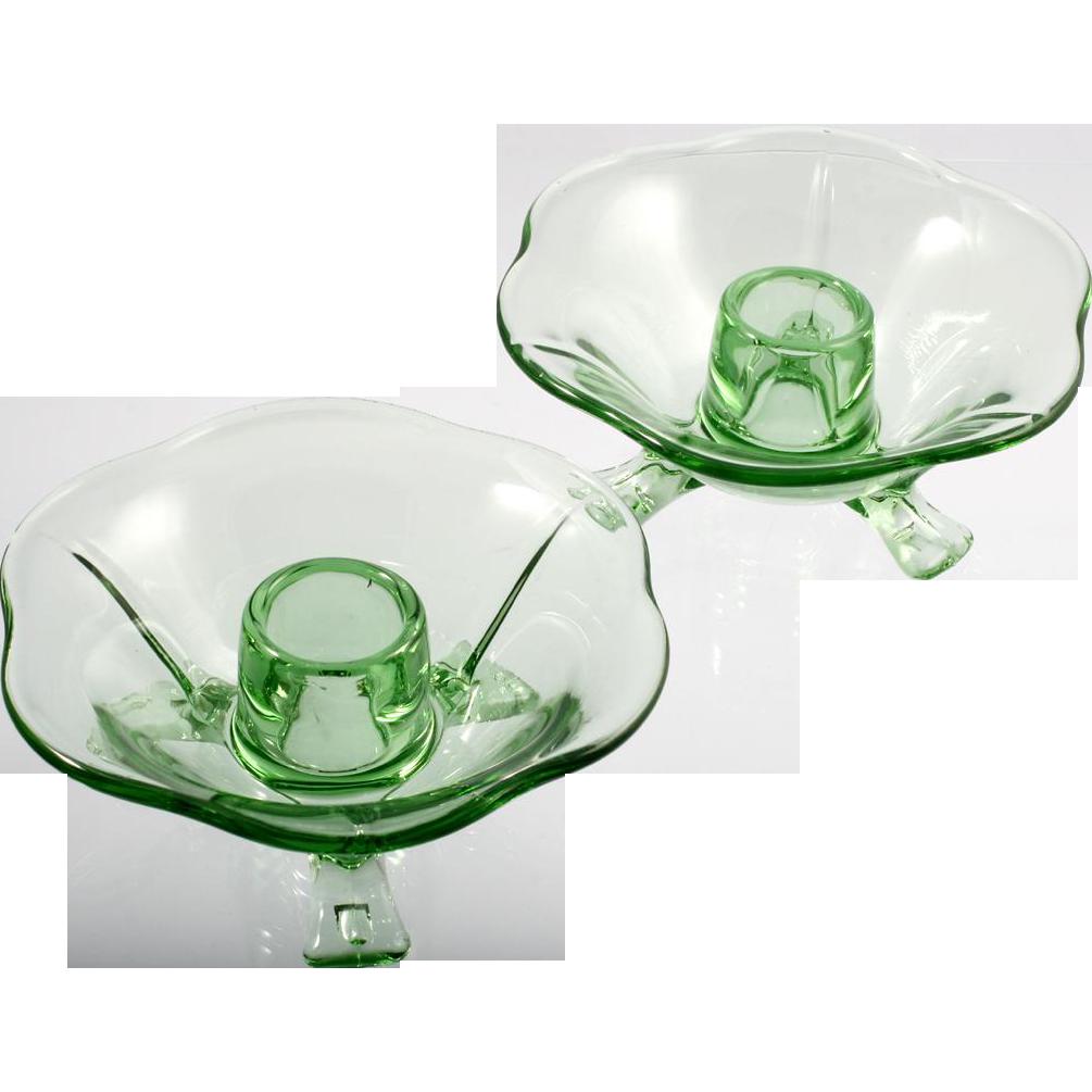 Fostoria Elegant Glass Green Candleholders Depression Era Vintage for Taper Candles