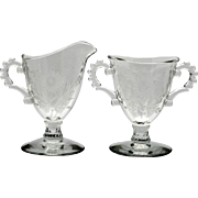 Imperial Glass Candlewick Sugar and Creamer set Floral Cut Vintage Elegant Glass