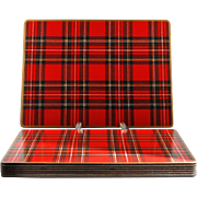 Pimpernel Tartan Place Mats Set of 8 Royal Stewart Cork Backed Vintage English