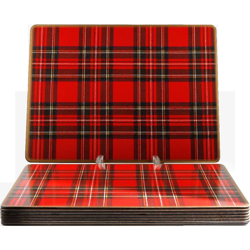 Pimpernel Tartan Place Mats Set of 8 Royal Stewart Cork Backed Vintage English