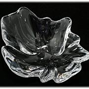 Royal Copenhagen Natura Lead Crystal Bowl Freeform Art Glass Leaf Flower