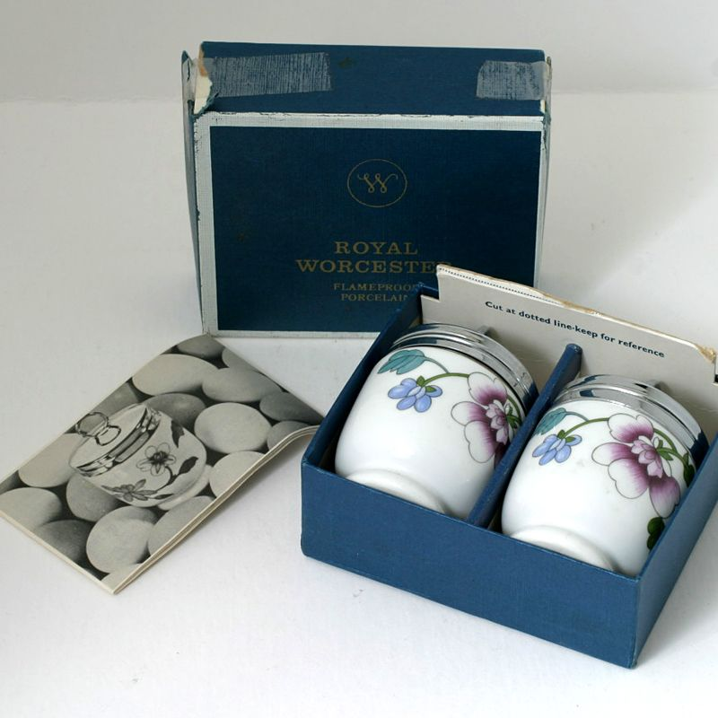 Royal Worcester Egg Coddler Pair Asley In Original Box