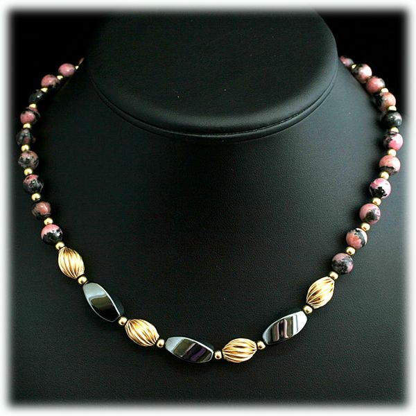 Rhodonite and H... Gold Hematite Beads