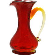Ruby Crackle Art Glass Pitcher Miniature Hand Blown Mid Century Modern