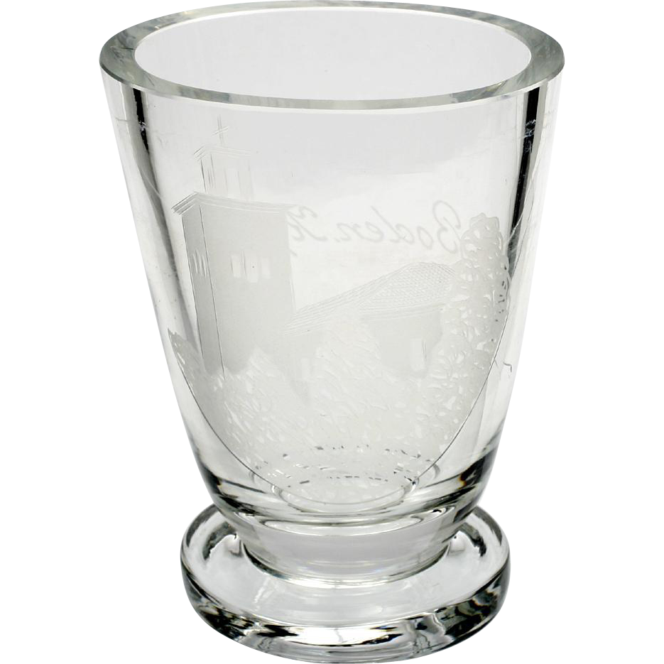 Antique Swedish Souvenir Glass Vase Tumbler Boden Kyrkan Engraved