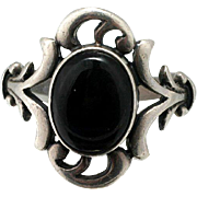 Vintage Ring Sterling Silver and Onyx Size 7.5