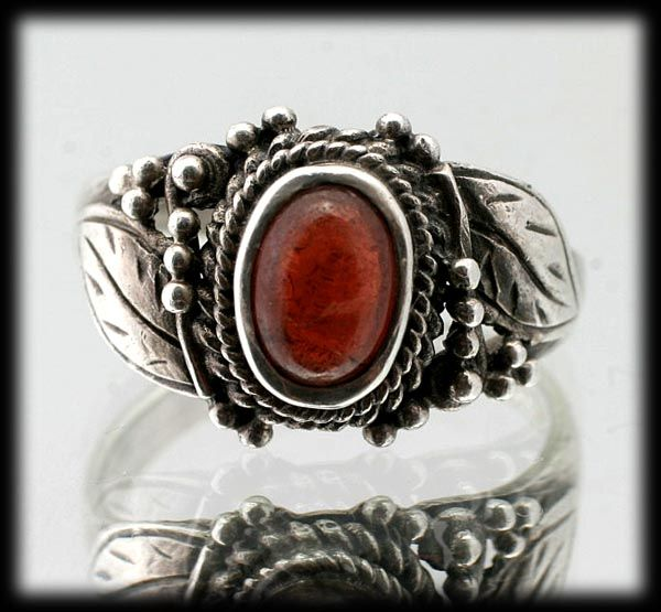 Spessartite Garnet and Sterling Silver Ring Size 6 Native American Style