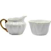 Shelley Regency Porcelain Creamer and Sugar Bowl English White and Gold Trim