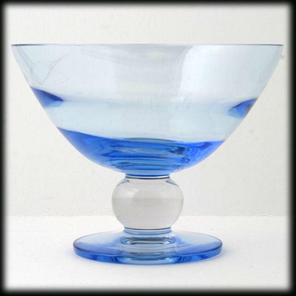 Tiffin Copen Blue Swedish Optic Compote Crystal Ball Stem Elegant Glass Vintage