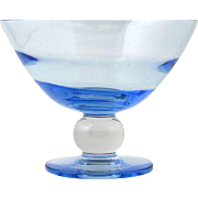 Tiffin Vintage Glass Compote Copen Blue Swedish Optic Crystal Ball Stem Elegant