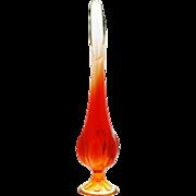 Viking Epic 6 Petal Amberina Bud Vase Mid Century Modern Art Glass Vintage