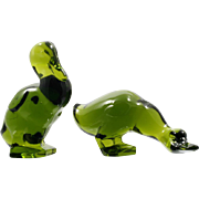 Viking Art Glass Green Duck Figurines Pair Vintage Paperweight Animals