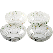 EAPG Frosted Enameled Bowls Flowers Antique Satin Glass Set of 4