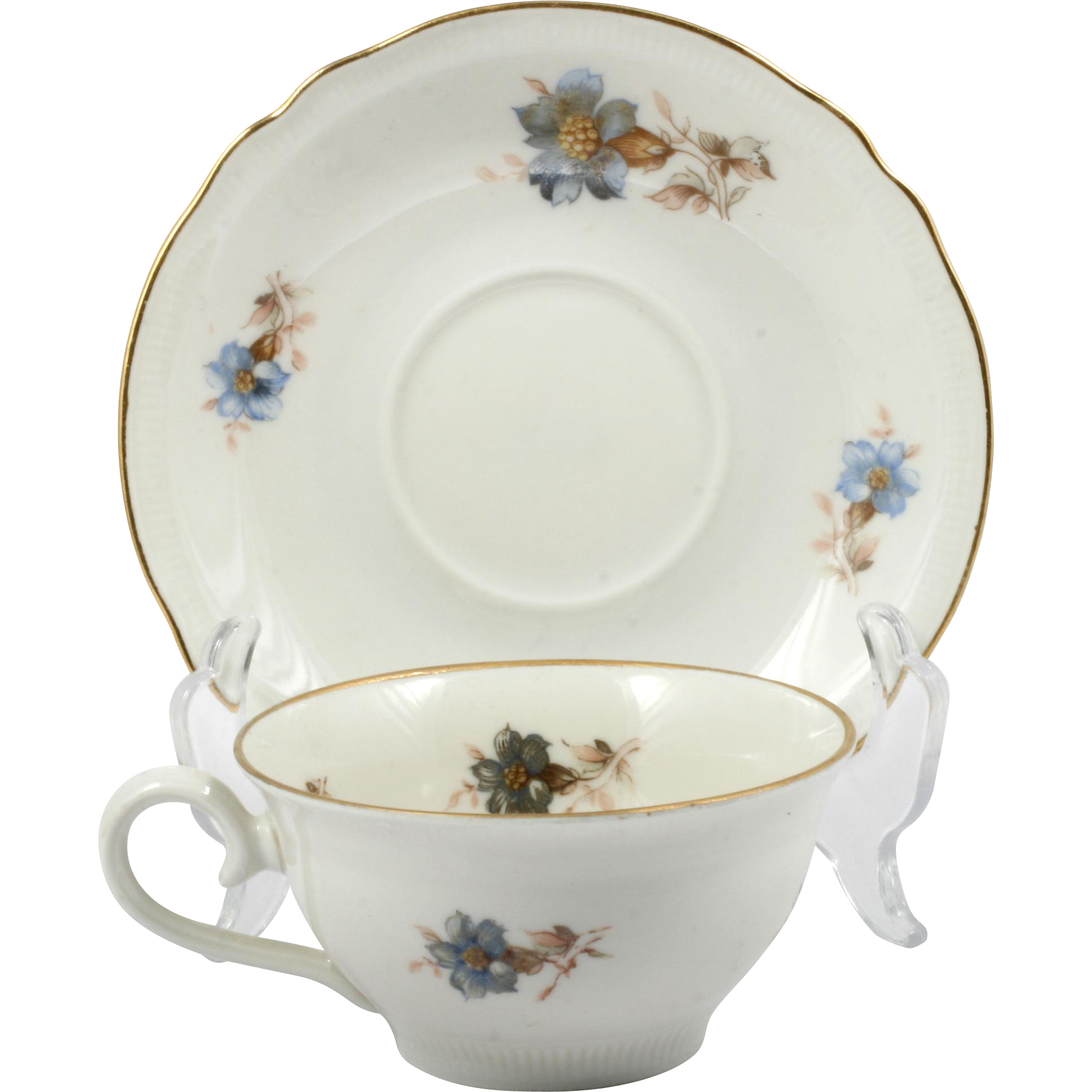 Schumann Bavaria Demitasse Cup and Saucer Blue Flowers with Silver Overlay German