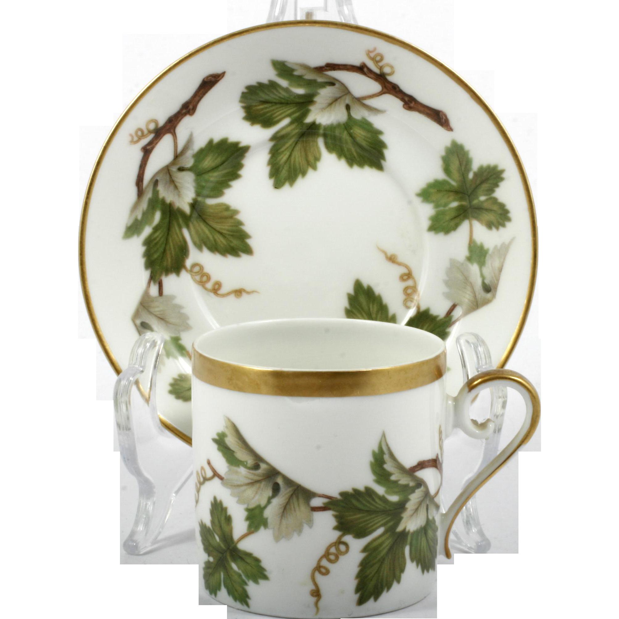 Hackefors Demitasse Cup and Saucer Swedish Porcelain Vintage Grape Leaf and Vine