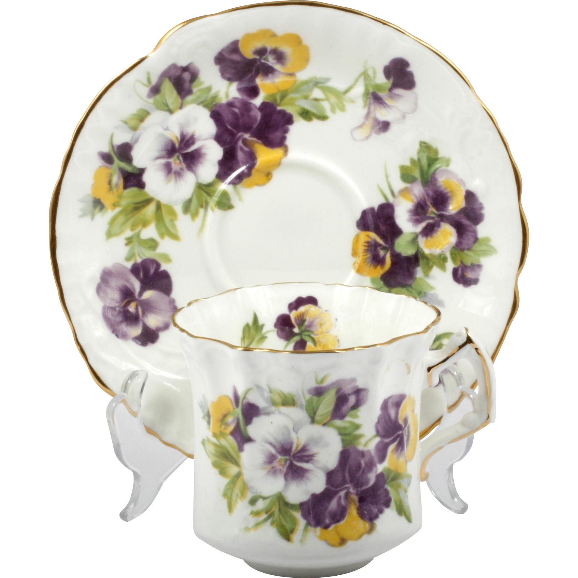 Hammersley Pansy Tea Cup and Saucer English Bone China Vintage Gold Trim
