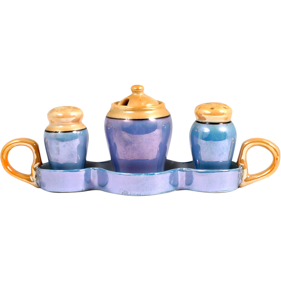 Blue Orange Porcelain Lustreware Condiment Set Salt Pepper Mustard Tray Japan Vintage