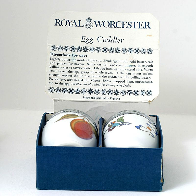 Royal Worcester Egg Coddler Pair Palmyra Evesham In Original Box