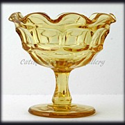 Westmoreland Yellow Elegant Glass Compote Ashburton Golden Sunset Topaz Vintage Glass