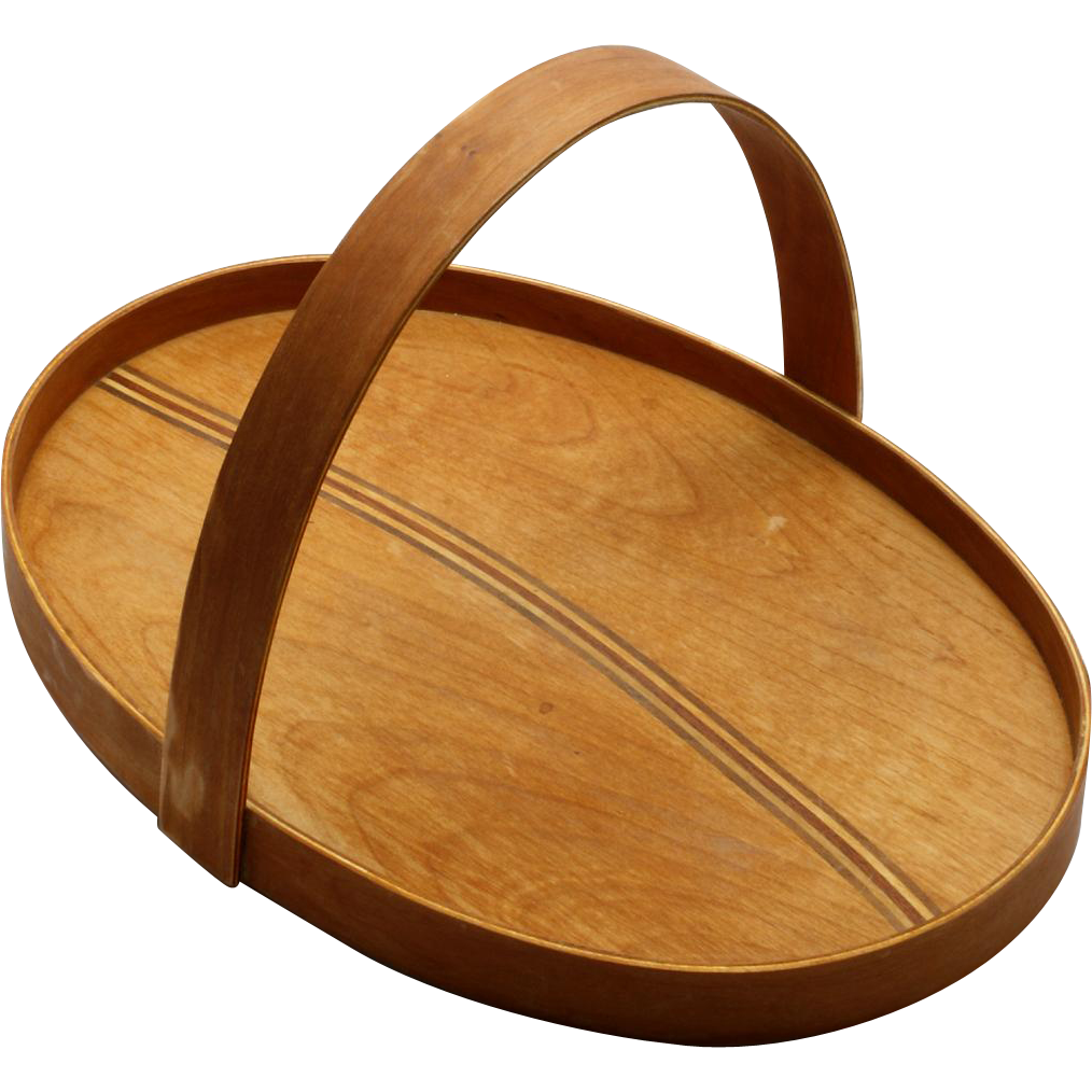 Hand Crafted Wooden Gathering Basket Flat Bottom