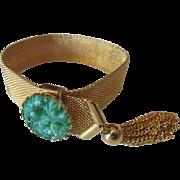 Vintage Napier Gold-Toned Mesh Slide Bracelet with Faux Molded Jade