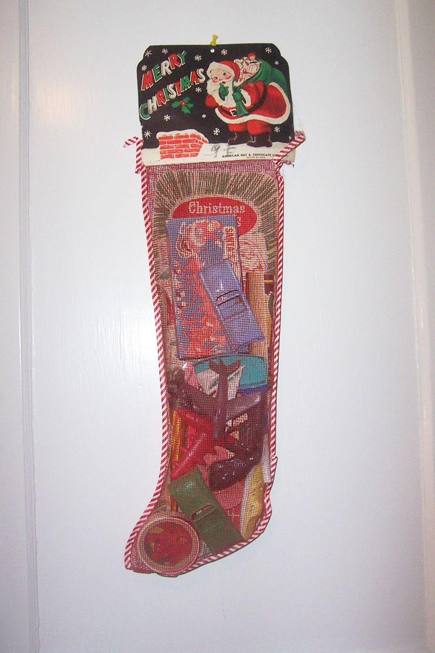 Vintage Mesh Christmas Stocking Toys Games Filled Unopened from ...