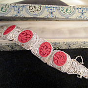 Asian Filigree Silver /Carved Cinnabar Bracelet