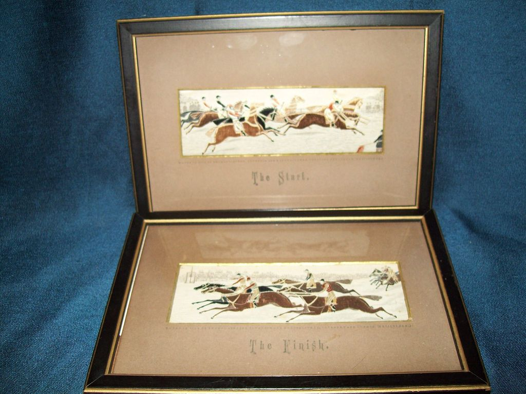 Antique Silk Stevengraph ** The Start / The Finish ** 1880's