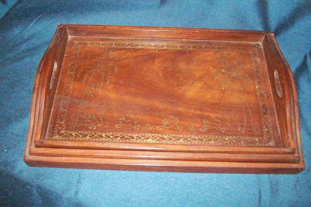 Mahogany Brass Inlaid Nesting Trays