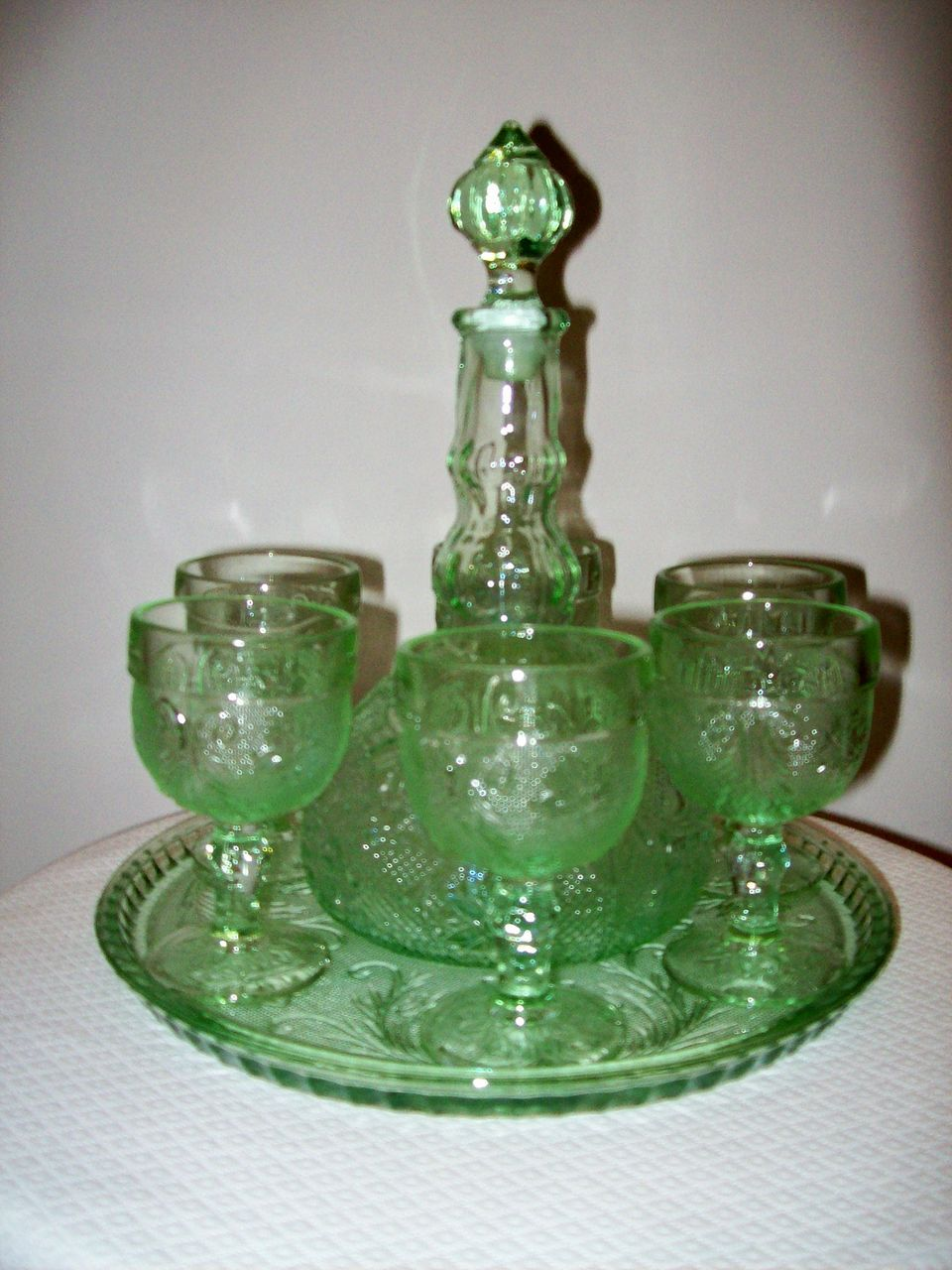depression sandwich glass decanter  goblets set from cbe on ruby lane