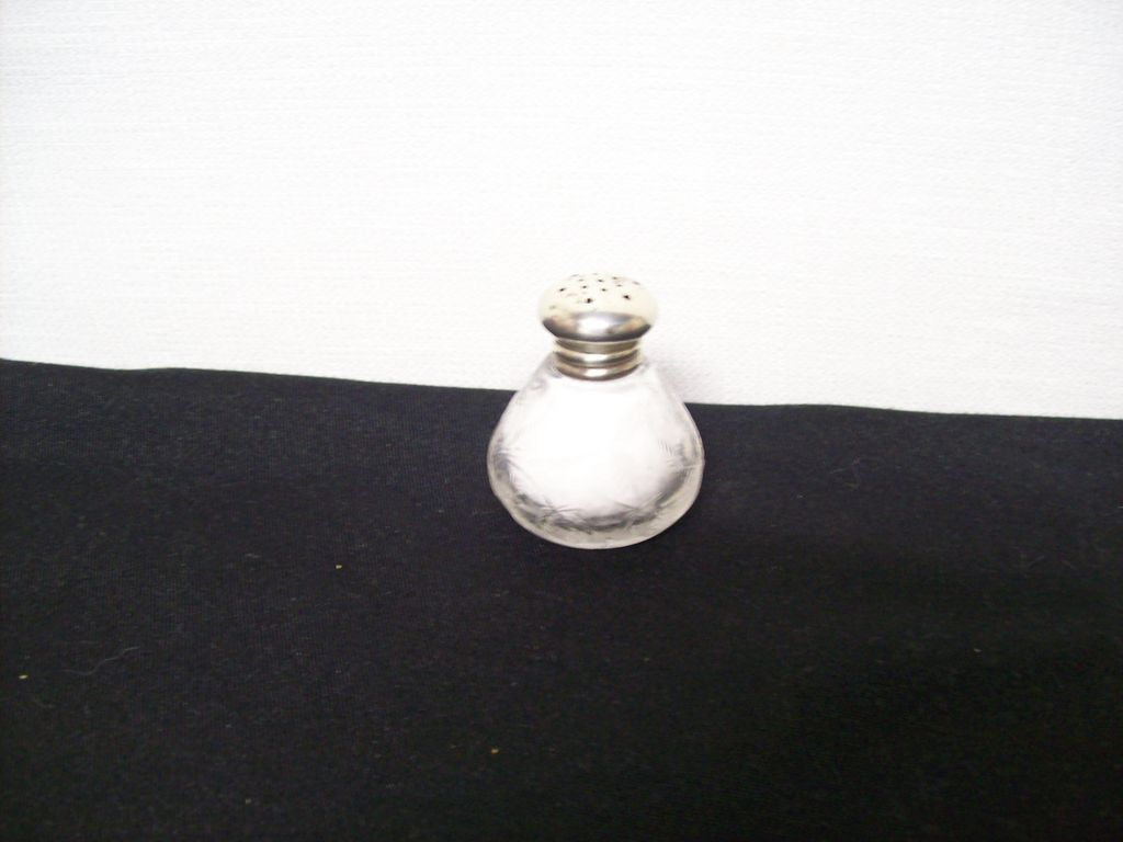 Sterling and Cut Glass Salt Shaker / Strawberry Early 1900's