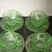 "Depression "" Sandwich "" Indiana Glass Co.Cups/ Saucers"