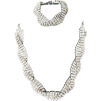 Vintage Clear Rhinestone Necklace and Bracelet