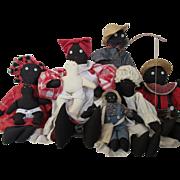 Black Cloth Doll Family
