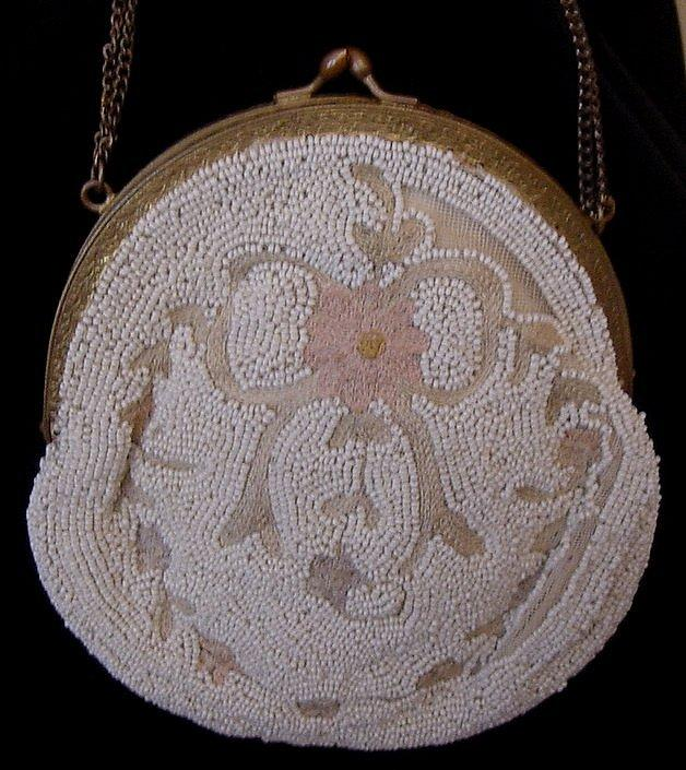 Sweet Beaded Purse W/ Tambour Embroidery,  Made In France