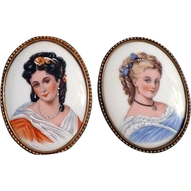 Limoges Painted Portraits for Doll Room