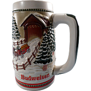 Commemorative Budweiser Christmas Beer Stein 1984