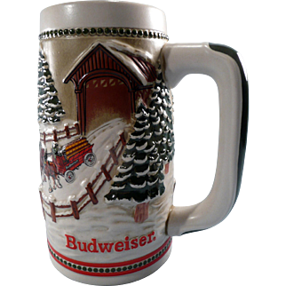 Commemorative Budweiser Christmas Beer Stein 1984